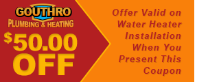 $50.00 Off - Offer Valid on Water Heater Installation When You Present This Coupon